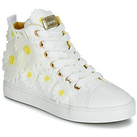 Schuhe Mädchen Sneaker High Geox JR CIAK GIRL Weiss / Hellbraun crumpled lea