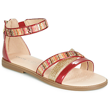 Schuhe Mädchen Sandalen / Sandaletten Geox J SANDAL KARLY GIRL Rot / Goldfarben