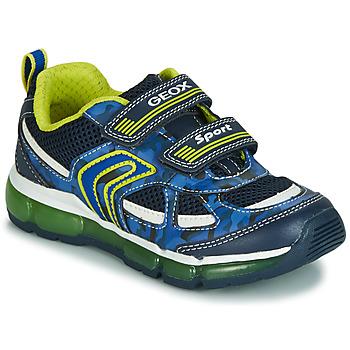 Schuhe Jungen Sneaker Low Geox J ANDROID BOY Marine / Gelb /  led
