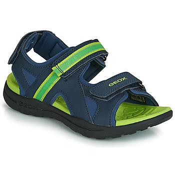 Schuhe Jungen Sportliche Sandalen Geox J GLEEFUL BOY Blau / Gelb