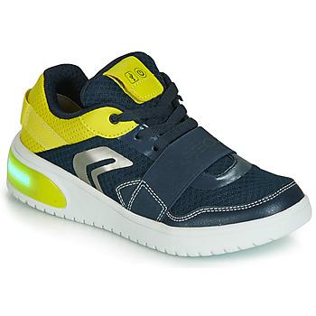 Schuhe Jungen Sneaker Low Geox J XLED BOY Blau / Gelb /  led