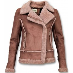 Kleidung Damen Jacken / Blazers Z Design Bikerjacke Da Lammfellmantel Da Wildlederjacke Rose Rosa