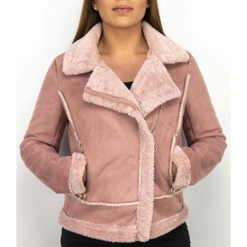 Z Design Bikerjacke Da Lammfellmantel Da Wildlederjacke Rose Rosa - Kleidung Jacken / Blazers Damen 10499 EyTx5