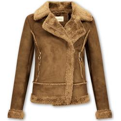 Kleidung Damen Jacken / Blazers Z Design Bikerjacke Da Lammfelljacke Aus Kunstleder Braun