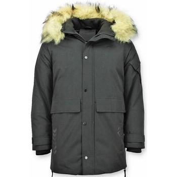 Kleidung Herren Parkas Enos Winterjacke Winterparka Kunstfell Jacke Parkas Schwarz