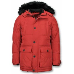 Kleidung Herren Parkas Enos Winterjacke Winterjacke Kunstfell Jacke Pocet Rot