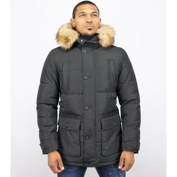 Kleidung Herren Daunenjacken Enos Winterjacke Winterjacke Kunstfell Jacke Pocet Schwarz