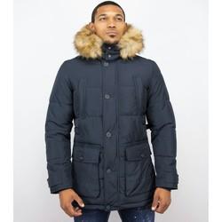 Kleidung Herren Daunenjacken Enos Winterjacke Winterjacke Kunstfell Jacke Pocet Blau