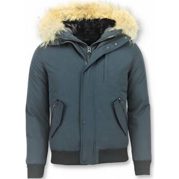 Kleidung Herren Jacken Enos Kurze Winterjacke Pelzkragen Echtfell Jacke Blau