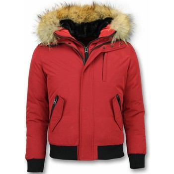 Kleidung Herren Jacken Enos Kurze Winterjacke Pelzkragen Echtfell Jacke Rot