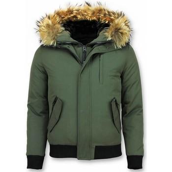 Kleidung Herren Jacken Enos Kurze Winterjacke Pelzkragen Echtfell Jacke Grün