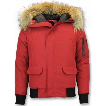 Kleidung Herren Jacken Enos Kurze Winterjacke Pelzkragen Echtfell Jacke Canada Rot