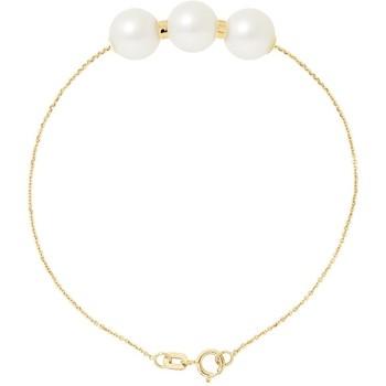 Uhren Damen Armbänder Blue Pearls Perlenarmband mit 3 Weissen Zuchtperlen und 750/1000 Gelbgold Multicolor