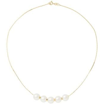 Uhren Damen Collier Blue Pearls 8 mm 5 Perlen Halskette mit Weissen Zuchtperlen und 750/1000 Gel Multicolor