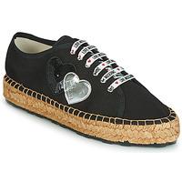 Schuhe Damen Leinen-Pantoletten mit gefloch Love Moschino JA10263G07 Schwarz