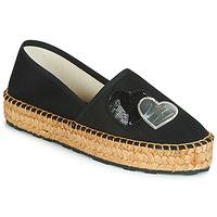 Schuhe Damen Leinen-Pantoletten mit gefloch Love Moschino JA10243G07 Schwarz