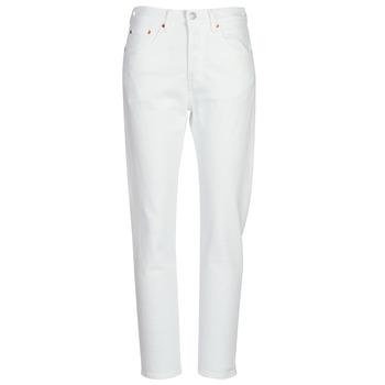 Kleidung Damen Boyfriend Jeans Levi's 501 CROP Weiss / grau / stahl / Clouds