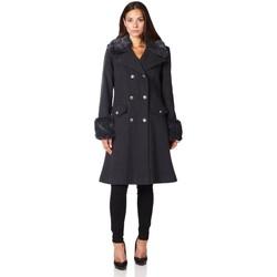 Kleidung Damen Mäntel De La Creme Wintermantel aus Kaschmirwolle mit Pelzkragen Grey