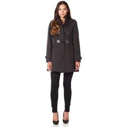 Kleidung Damen Mäntel De La Creme - Graue Wolle Cashmere Damen mit Kapuze Reißverschluss Winterma Grey