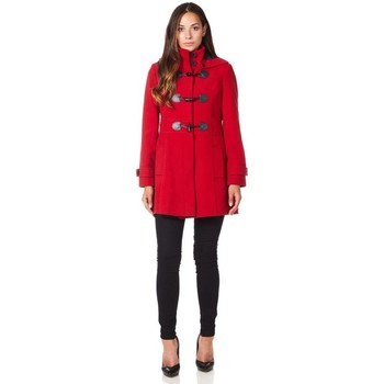 Kleidung Damen Mäntel De La Creme -Rot Wolle Cashmere Damen mit Kapuze Reißverschluss Wintermante Red