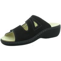 Schuhe Damen Pantoffel Longo Pantoletten Pantolette mit Klettverschluss 1006407 schwarz