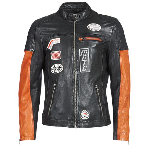 Kleidung Herren Lederjacken / Kunstlederjacken Oakwood INDIE Schwarz / Orange