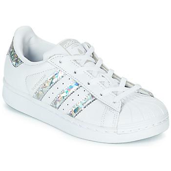 Schuhe Mädchen Sneaker Low adidas Originals SUPERSTAR C Weiss / Silbern