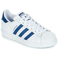 Schuhe Kinder Sneaker Low adidas Originals SUPERSTAR J Weiss / Blau