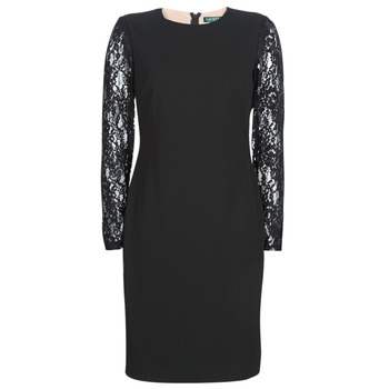 Kleidung Damen Kurze Kleider Lauren Ralph Lauren LACE PANEL JERSEY DRESS Schwarz
