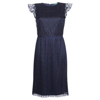 Kleidung Damen Kurze Kleider Lauren Ralph Lauren LACE CAP SLEEVE DRESS Marine