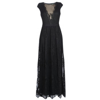 Kleidung Damen Maxikleider Lauren Ralph Lauren CAP SLEEVE LACE EVENING DRESS Schwarz