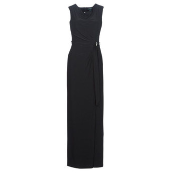 Kleidung Damen Maxikleider Lauren Ralph Lauren CAP SLEEVE JERSEY EVENING DRESS Schwarz