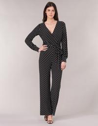 Kleidung Damen Overalls / Latzhosen Lauren Ralph Lauren POLKA DOT WIDE LEG JUMPSUIT Schwarz / Weiss