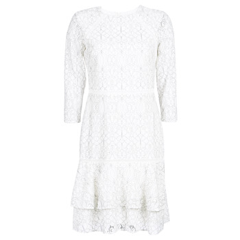 Kleidung Damen Kurze Kleider Lauren Ralph Lauren LONG SLEEVE-LACE DAY DRESS Weiss / Schwarz