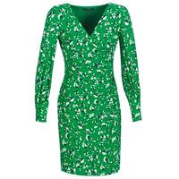 Kleidung Damen Kurze Kleider Lauren Ralph Lauren FLORAL PRINT-LONG SLEEVE-JERSEY DAY DRESS Grün