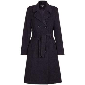 Kleidung Damen Trenchcoats De La Creme Wolle Gürtel lange militärische Trenchcoat Schwarz