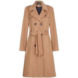 Kleidung Damen Trenchcoats De La Creme Einreihiger Wintermantel aus Wolle und Kaschmir Beige
