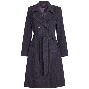 Kleidung Damen Trenchcoats De La Creme Einreihiger Wintermantel aus Wolle und Kaschmir Grau
