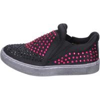 Schuhe Mädchen Slip on Lulu mädchen slip on schwarz textil strass BT332 schwarz
