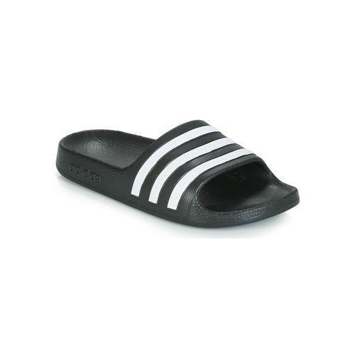 Schuhe Kinder Pantoletten adidas Performance ADILETTE AQUA K Schwarz / Weiss