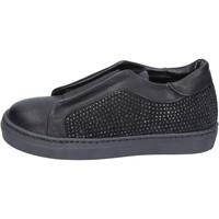 Schuhe Mädchen Slip on Holalà mädchen  sneakers schwarz leder wildleder BT374 schwarz