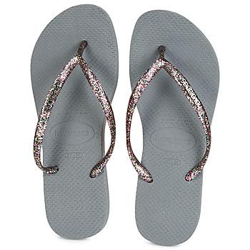 Schuhe Damen Zehensandalen Havaianas SLIM LOGO METALLIC Grau