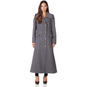 Kleidung Damen Mäntel De La Creme Langer Wintermantel aus Wollkaschmir Grey