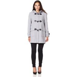 Kleidung Damen Mäntel De La Creme Winter-Kapuzen-Dufflecoat aus Wolle Grey