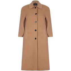 Kleidung Damen Mäntel De La Creme Einreihiger langer Wintermantel aus Wolle und Kaschmir Beige