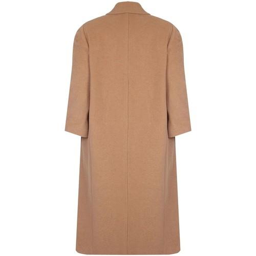 De La Creme Einreihiger langer Wintermantel aus Wolle und Kaschmir Beige - Kleidung Mäntel Damen 11099 K2ddx