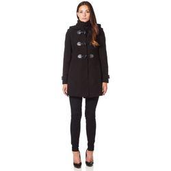 Kleidung Damen Mäntel De La Creme Wintermantel aus Wolle mit Kaschmir und Reißverschluss Black