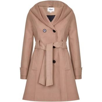 Kleidung Damen Mäntel De La Creme Wintermantel mit Kapuze Beige