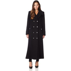 Kleidung Damen Mäntel De La Creme Langer Wintermantel aus Wollkaschmir Black