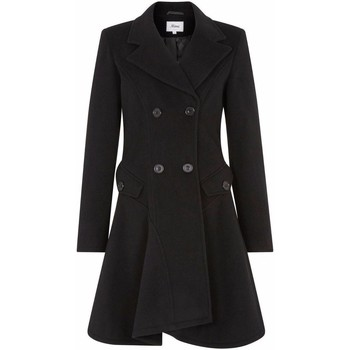 Kleidung Damen Mäntel De La Creme Wolle Winter Zweireihiger Fit und Flare Wintermantel Black